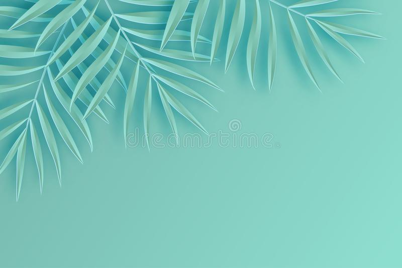 Tropisk pappers- palmbladram Tropiskt blad för sommar origami royaltyfri illustrationer