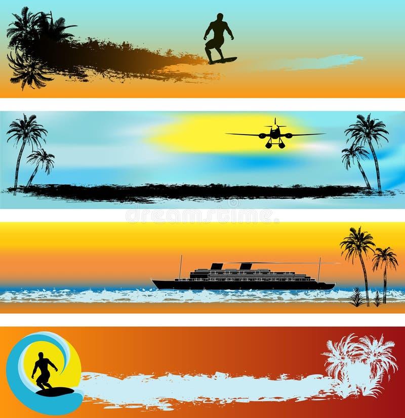 tropisk rengöringsduk för banerstrandmallar stock illustrationer