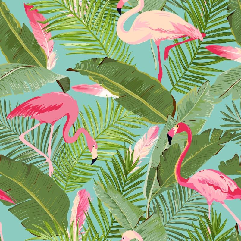Tropisk sömlös flamingo och blom- sommarmodell För tapeter bakgrunder, texturer, textil, kort vektor illustrationer