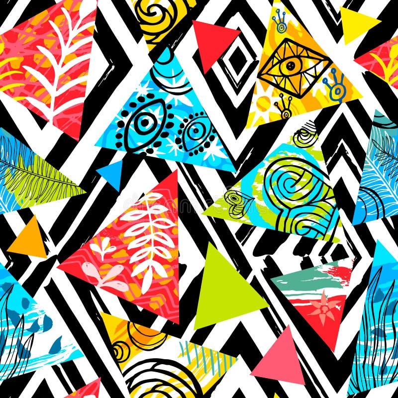Tropisk sömlös modell för afrikansk batik Abstrakt sommardecorat royaltyfri illustrationer