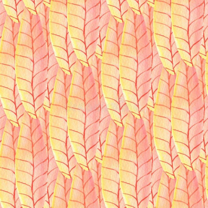 Tropisk sömlös modell för vattenfärg Ljus målningbakgrund Kan användas för design för inpackningspapper och tyg vektor illustrationer