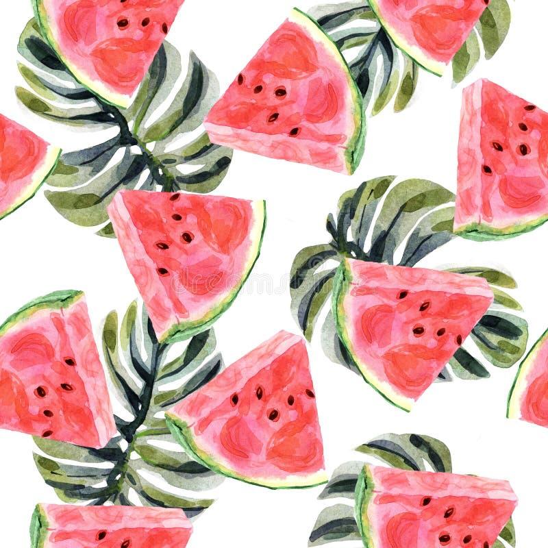 Tropisk sömlös modell för vattenfärg med vattenmelon på en vit bakgrund stock illustrationer