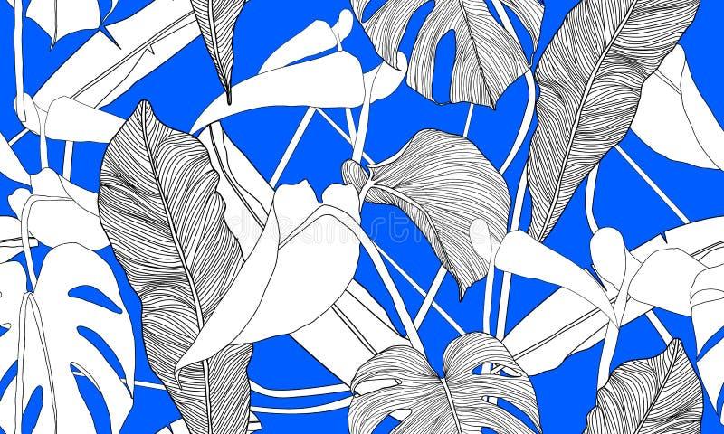 Tropisk sömlös modell för vektor Exotiska gröna växter på blå bakgrund Banan- och monsterasidor Abstrakt blom- sömlöst klappar stock illustrationer