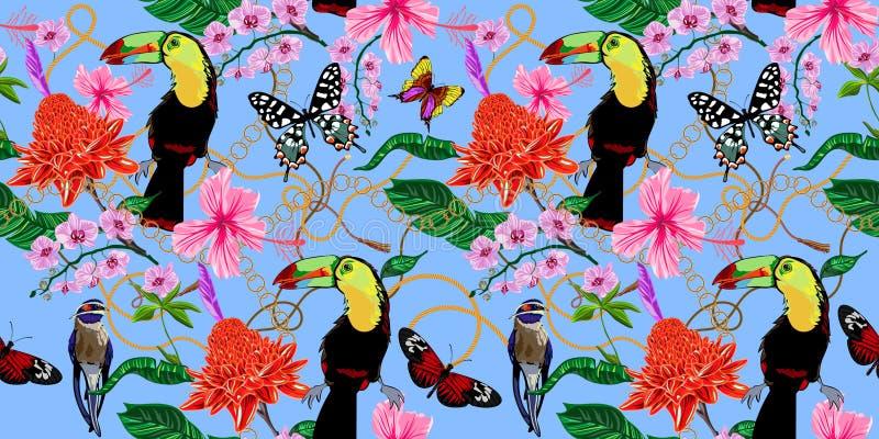 Tropisk sömlös modell med blommor, fjärilar, fåglar och barocka kedjor Blom- lapp för vektor för trycket, tyg, halsduk royaltyfri illustrationer