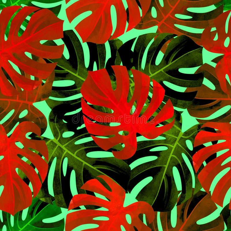 Tropisk sömlös modell med colorfullmonsterasidor Trendig bakgrund arkivfoton