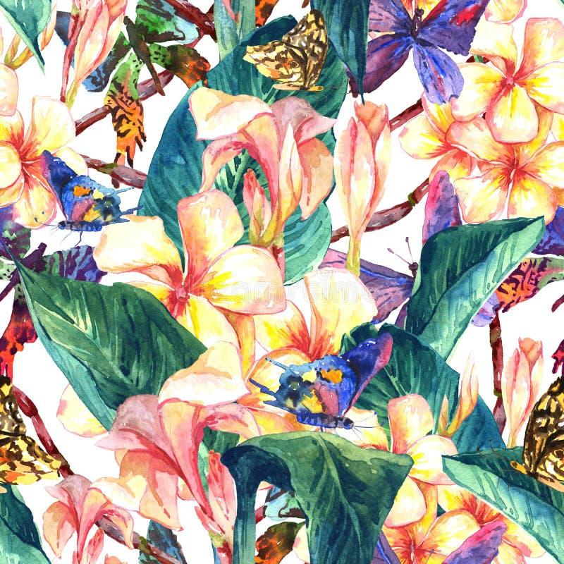 Tropisk sömlös modell med exotiska blommor royaltyfri illustrationer