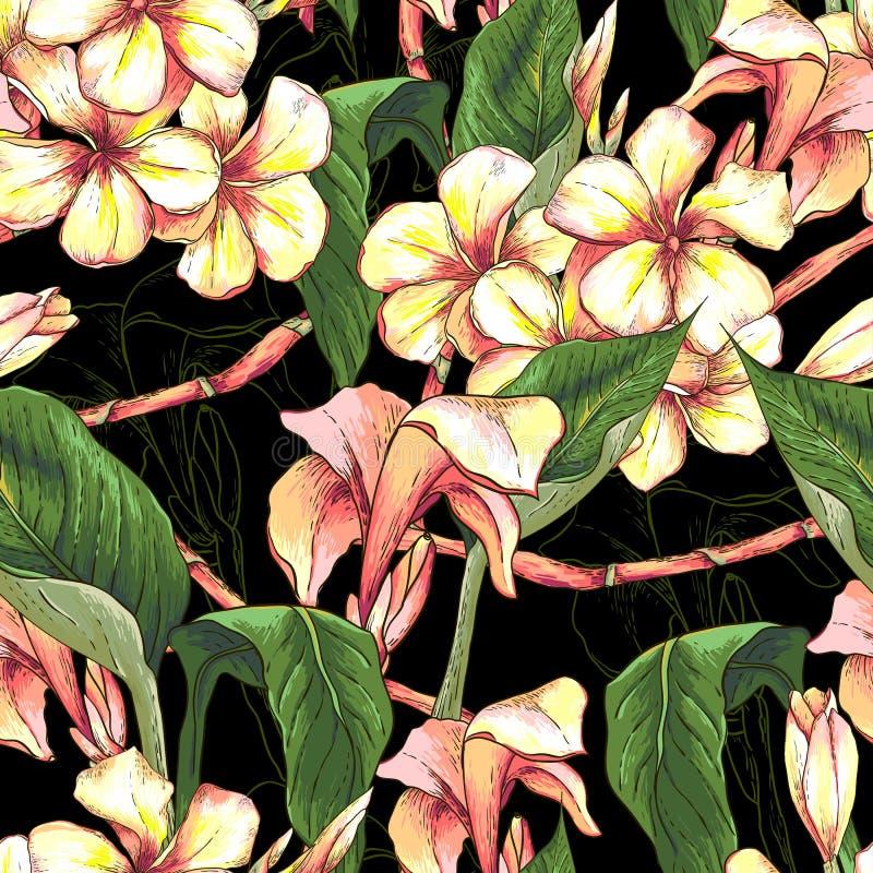 Tropisk sömlös modell med exotiska blommor stock illustrationer