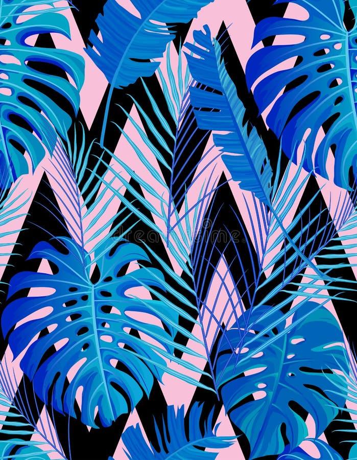 Tropisk sömlös modell med exotiska palmblad royaltyfri illustrationer
