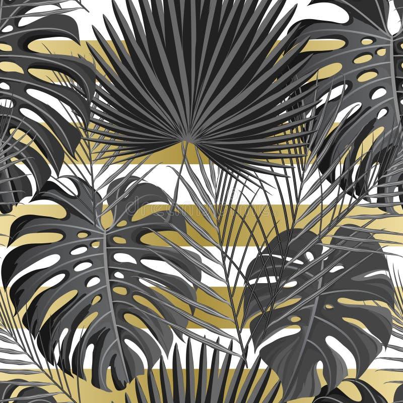 Tropisk sömlös modell med exotiska palmblad vektor illustrationer