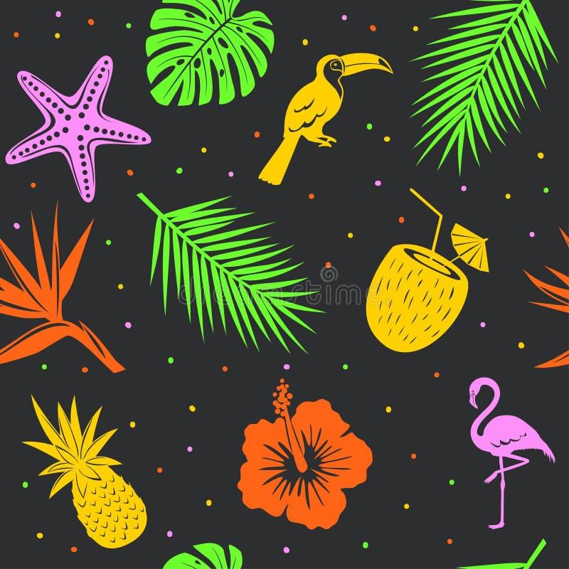 Tropisk sömlös modell med flamingo för palmbladsnäckskalkokosnöt, tukanananas royaltyfri illustrationer