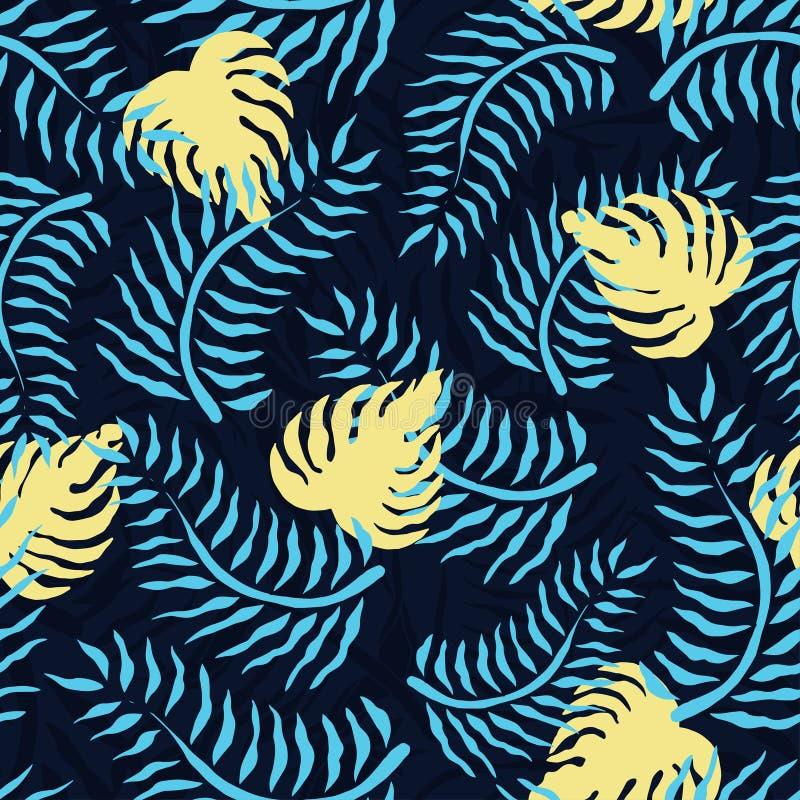 Tropisk sömlös modell med palmblad Gömma i handflatan den blom- modellen för sommar med gräsplan lövverk och gulingmonstera royaltyfri illustrationer