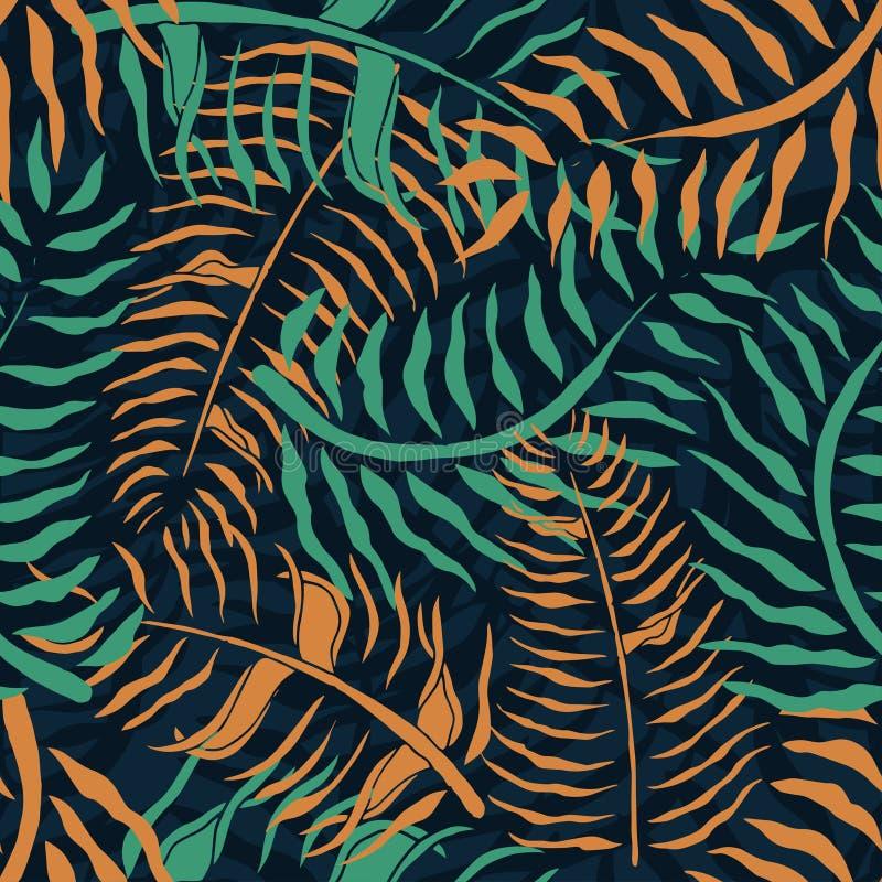 Tropisk sömlös modell med palmblad Gömma i handflatan den blom- modellen för sommar med gräsplan och apelsinen lövverk på mörk ba stock illustrationer