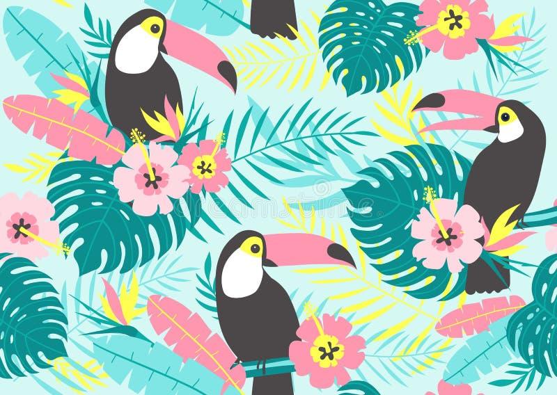 Tropisk sömlös modell med tukan, exotiska sidor och blommor royaltyfri illustrationer