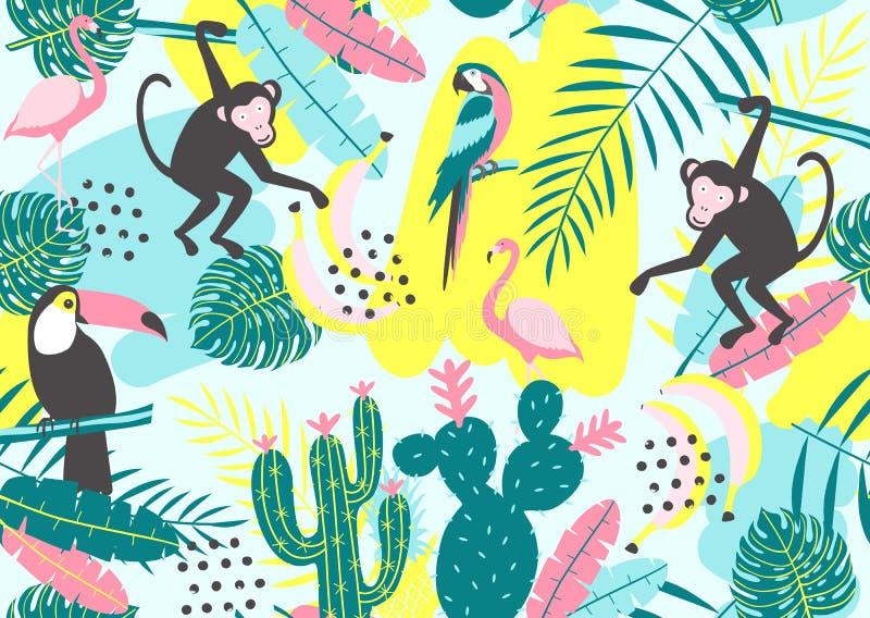 Tropisk sömlös modell med tukan, flamingo, papegojan, apan, kakturs och exotiska sidor stock illustrationer