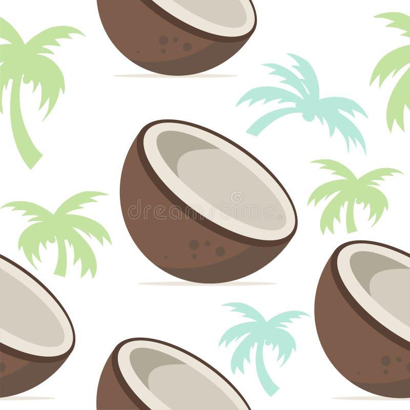 Tropisk sömlös modelldesign för kokosnöt stock illustrationer