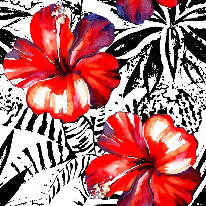Tropisk sömlösa hibiskusvattenfärg och grafiska exotiska växter stock illustrationer