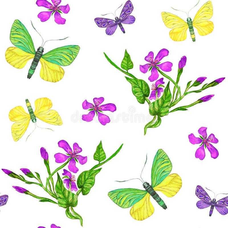 Tropisk s?ml?s modell med blommor och exotiska fj?rilar arkivbild