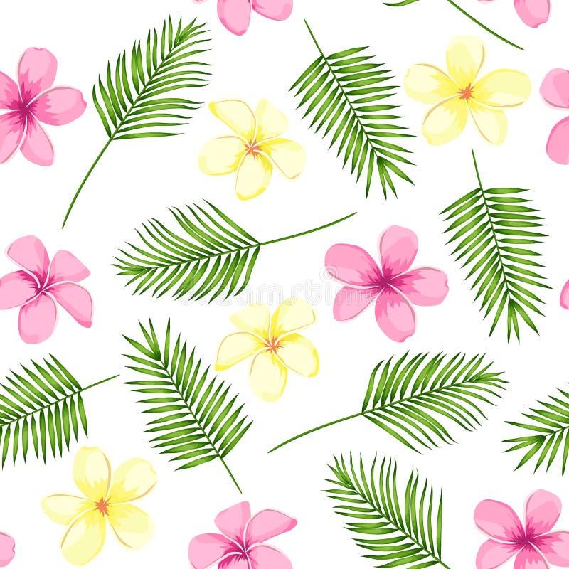 Tropisk s?ml?s modell med palmblad och blommor ocks? vektor f?r coreldrawillustration stock illustrationer