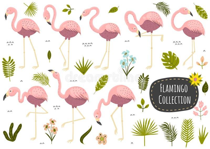 Tropisk samling för flamingo och för växter Upps?ttning av isolerade best?ndsdelar stock illustrationer
