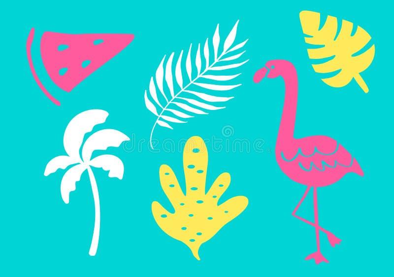 Tropisk samling för sidor, träd, flamingo och frukter för sommarstrandparti exotiska Isolerade best?ndsdelar f?r vektor design stock illustrationer