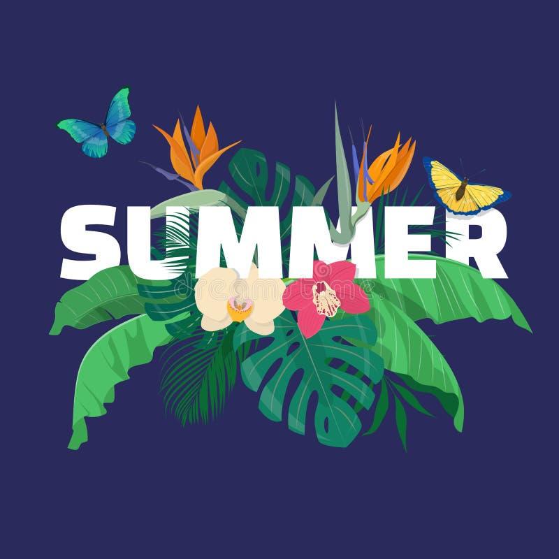 Tropisk sammansättning för sommar med tropiska sidor, blommor och b vektor illustrationer