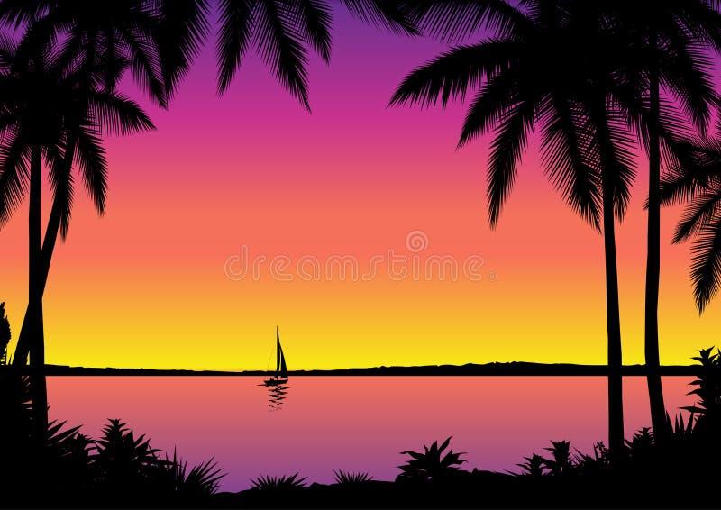 tropisk seascape royaltyfri illustrationer
