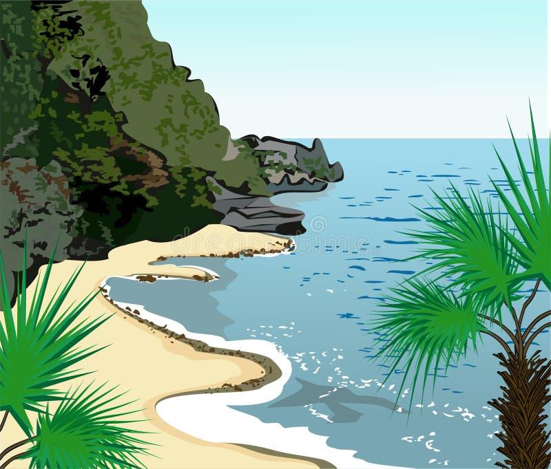 tropisk seashore royaltyfri illustrationer