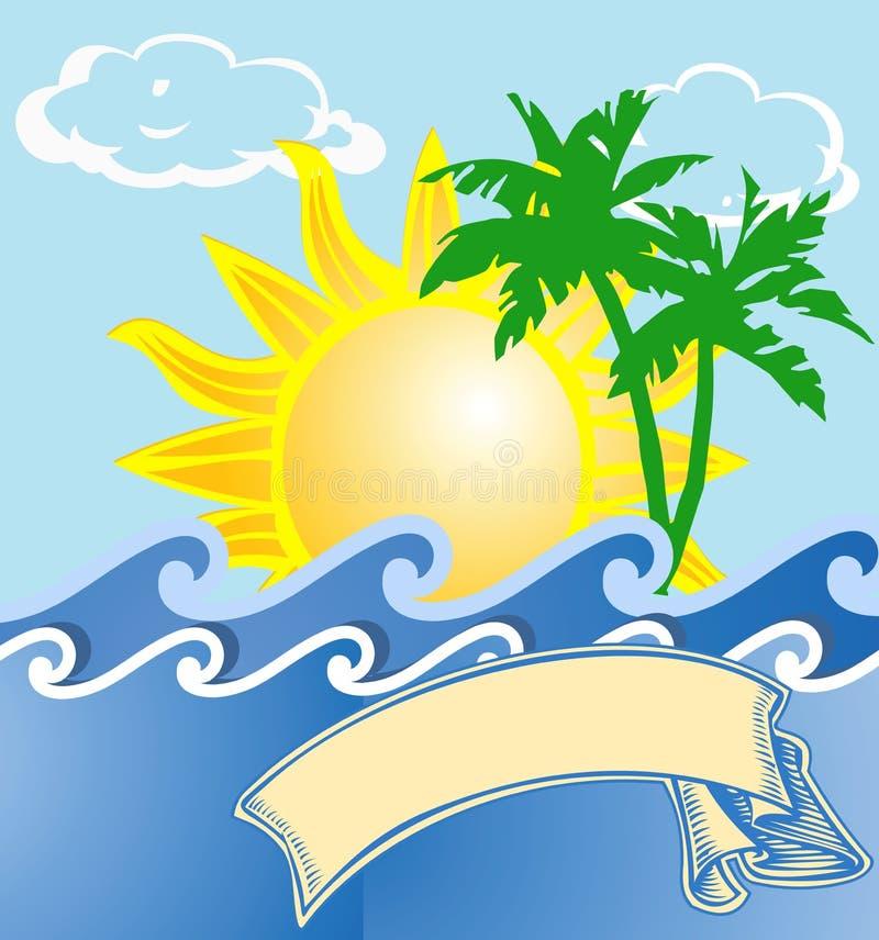 tropisk semester för logo royaltyfri illustrationer