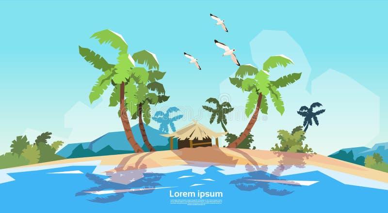 Tropisk semester för sommar för hav för strandöpalmträd stock illustrationer