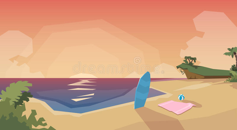 Tropisk semester för sommar för hav för strandösolnedgång vektor illustrationer