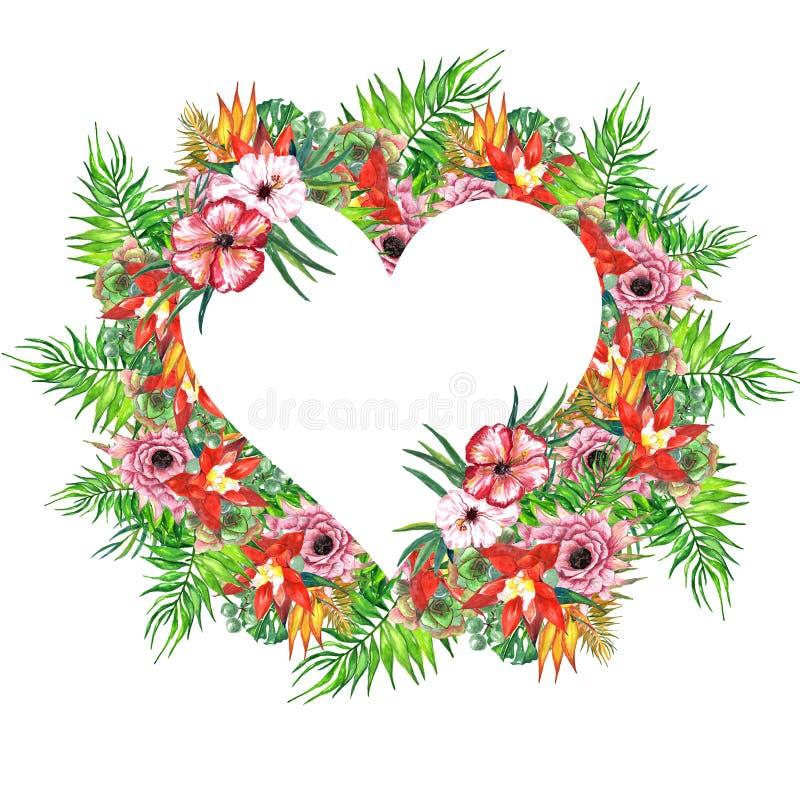 Tropisk sida- och blommakrans för vattenfärg! Exotiskt blom- kort för vattenfärg Räcka den målade vändkretsramen med palmträdsido royaltyfri foto