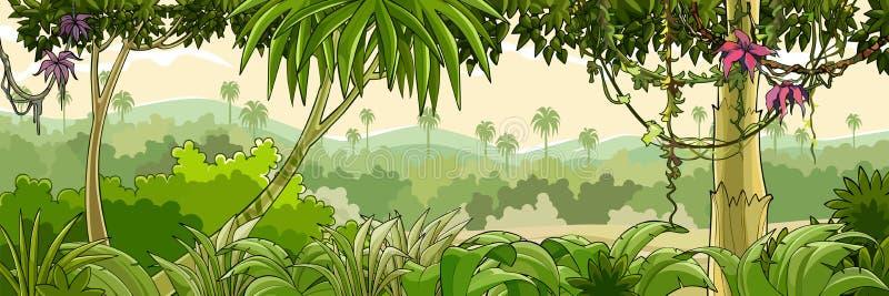 Tropisk skog för panoramatecknad filmgräsplan med palmträd stock illustrationer