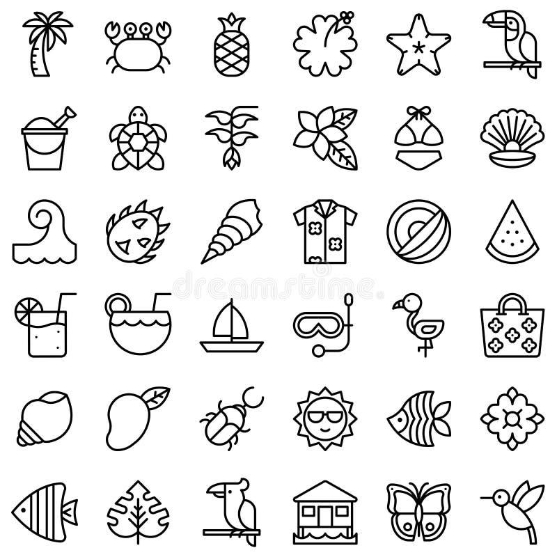 Tropisk släkt vektorsymbolsuppsättning, linje stil stock illustrationer