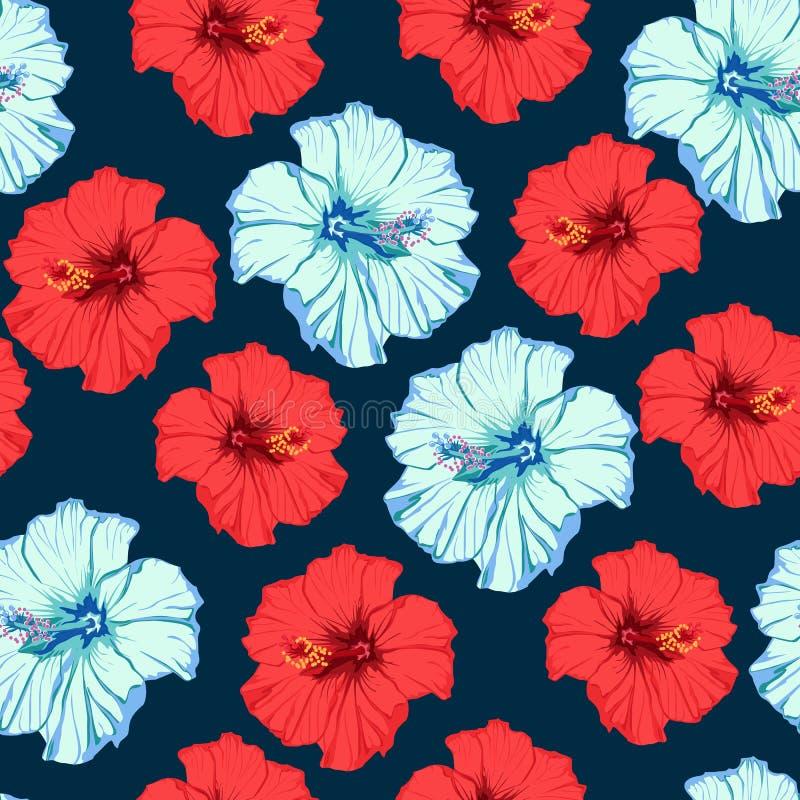 Tropisk sommar blommar mörker - blå bakgrund Den sömlösa modellen av den röda och blåa hibiskusen blommar stock illustrationer