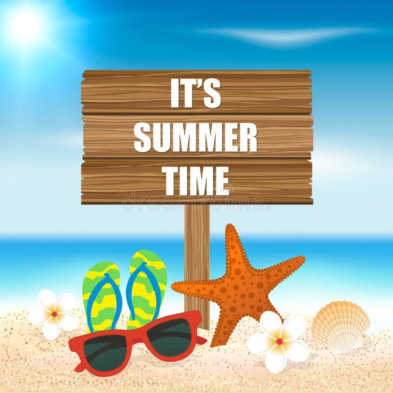 tropisk sommar för bakgrundsferieaffisch Säsongsemester, helg Vektorillu stock illustrationer