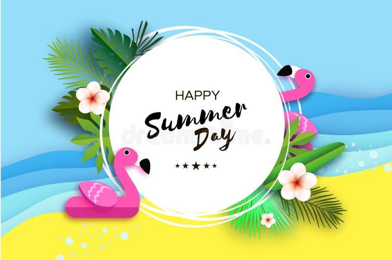 Tropisk sommardag Rosa flamingoflöte Origamistrand Kristallklart blått havsvatten lycklig din feriesommar för familj Palmblad royaltyfri illustrationer