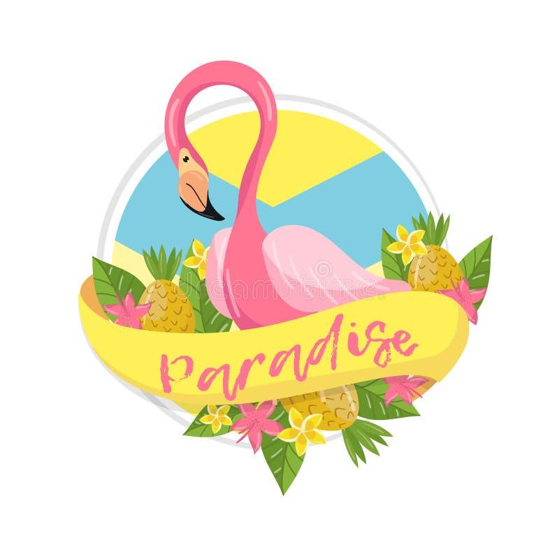 Tropisk sommaretikett för paradis, designbeståndsdel med palmblad, blommor, ananors och flamingovektorillustration vektor illustrationer