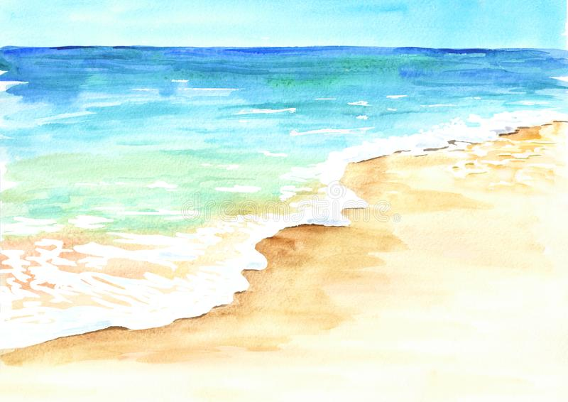 Tropisk strand för sommar med guld- sand och vågen Hand dragen vattenfärgillustration vektor illustrationer