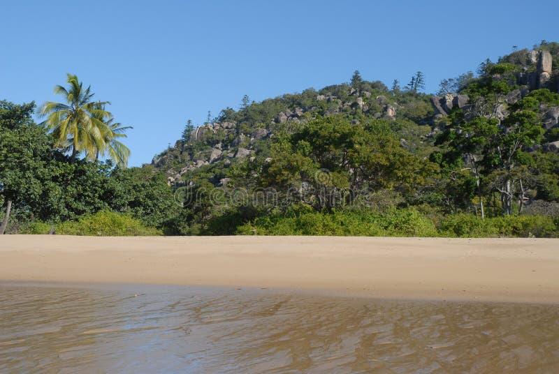 Tropisk strand i avlägsna norr Queensland, Australien royaltyfri bild