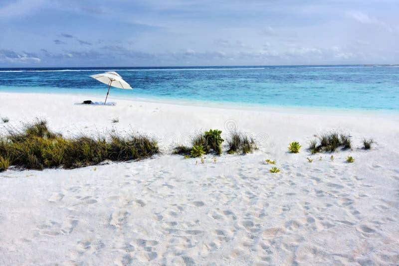 Tropisk strand med det vita sand- och solparaplyet i Maldivi arkivfoton