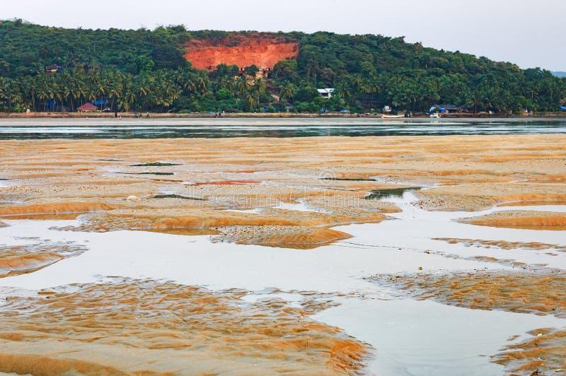 Tropisk strand med fiskebåtar i Goa, Indien arkivfoton