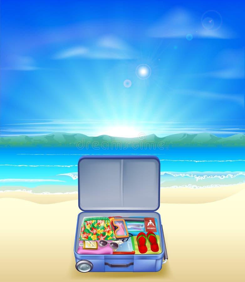 Tropisk strand med resväskan royaltyfri illustrationer