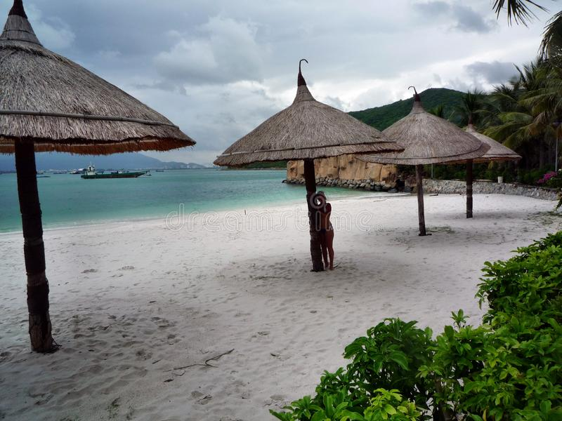 Tropisk strand med stolar och paraplyer arkivfoton