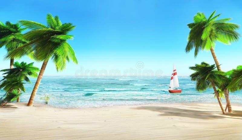 Tropisk strand och yacht. stock illustrationer