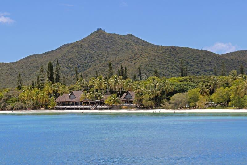 Tropisk strand på ön av PInes, Nya Kaledonien arkivbild