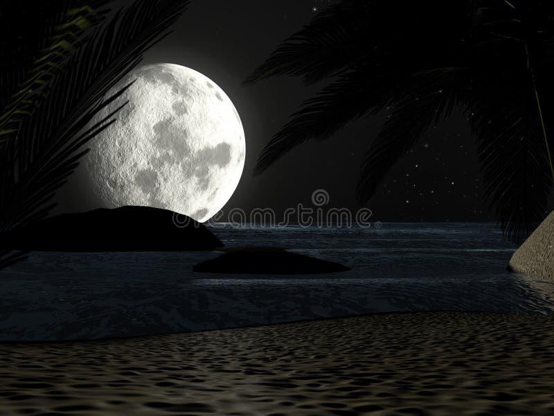 Tropisk strand på nattmånsken, med palmträd stock illustrationer