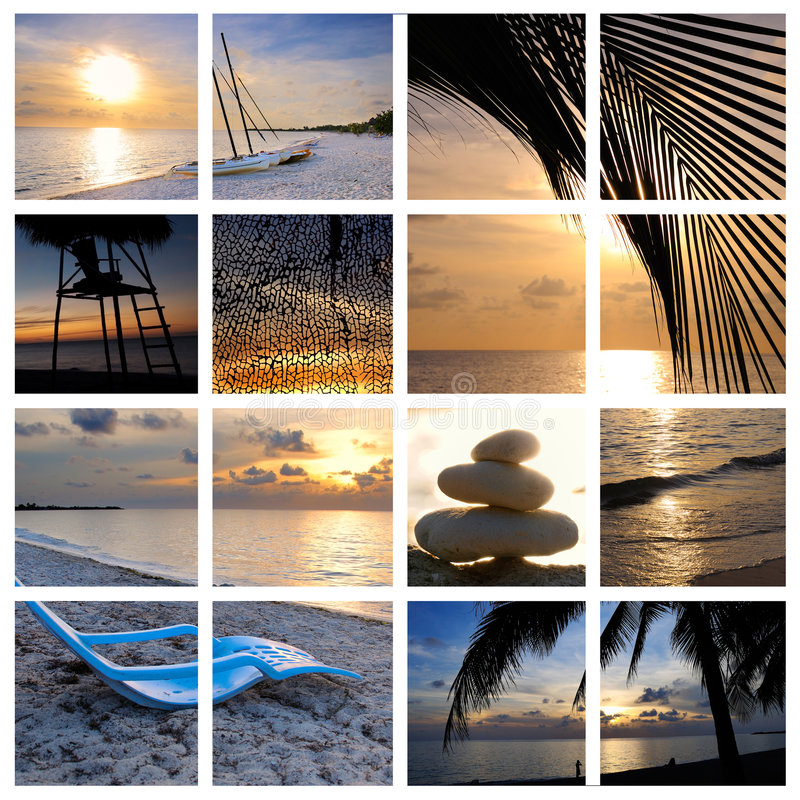 tropisk strandcollagesolnedgång arkivfoto