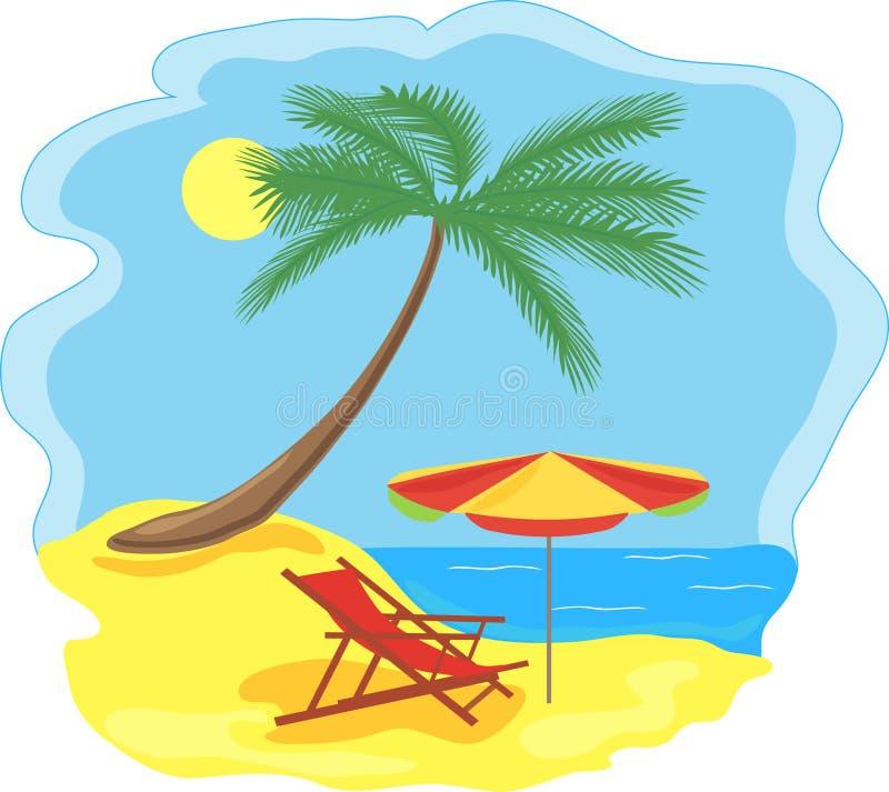 tropisk strandkust stock illustrationer