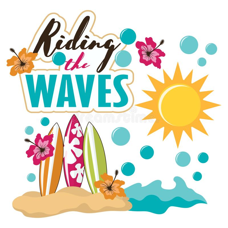 Tropisk strandsurfingbräda för tecknad film stock illustrationer