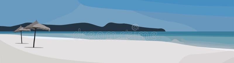 Tropisk strandvektorbakgrund Havssiktsillustration Panorama för sommartid royaltyfri illustrationer